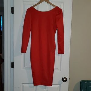 Red low cut back dress